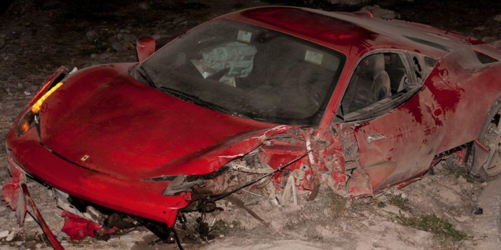 Así quedó el Ferrari de Vidal Foto:AFP