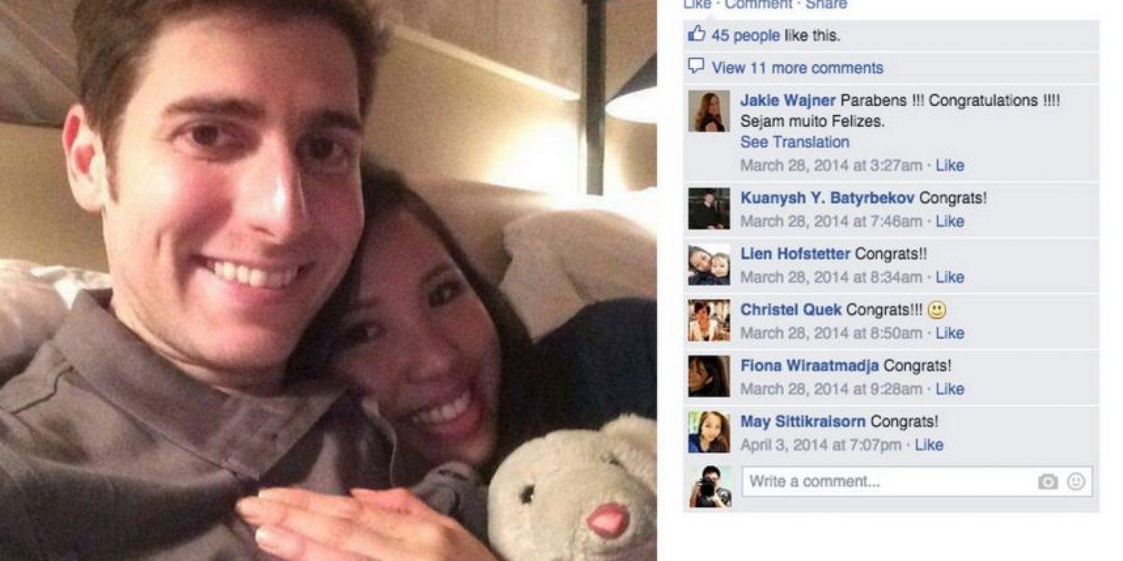 Este es el post que confirmó el compromiso en Facebook. Foto:Eduardo Saverin/Facebook