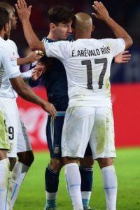La pequeña pelea en la que se involucró Lionel Messi con el uruguayo Egidio Arévalo Foto:AFP