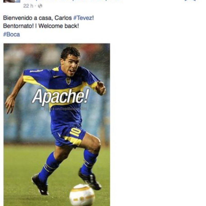 """Con esta foto, Diego Armando Maradona le dio la """"bienvenida"""" a Carlos Tévez a Boca Juniors, pero… Foto:facebook.com/DiegoMaradonaOficial"""