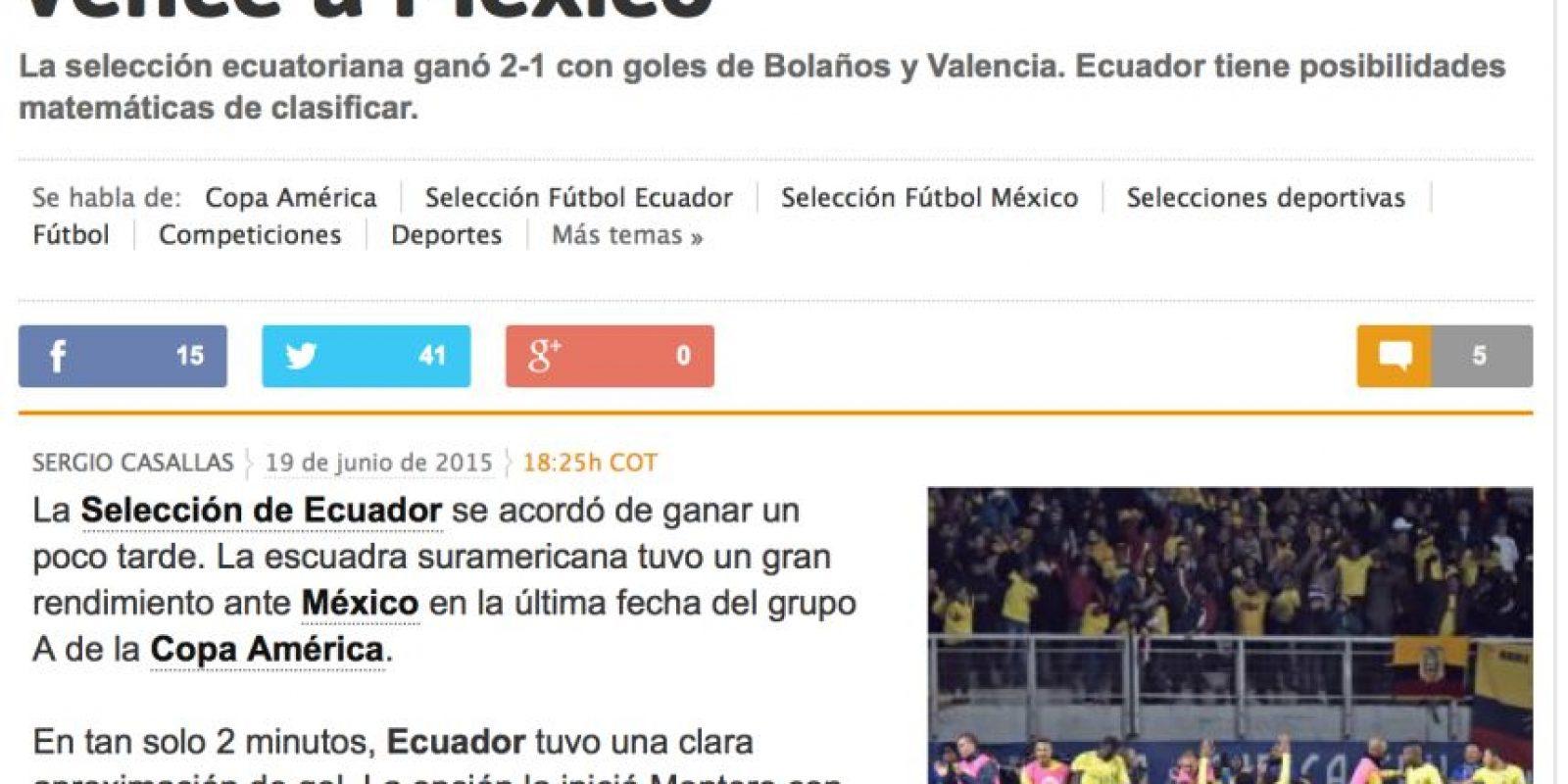 Marca de España le da más valor a la actuación de Ecuador que a la eliminación de México Foto:Marca
