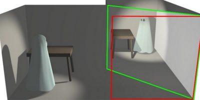 Entre las dos habitaciones se coloca una lámina de cristal, plexiglas o film transparente en un ángulo idóneo para que la blue room se refleje ante los espectadores Foto:Wikicommons