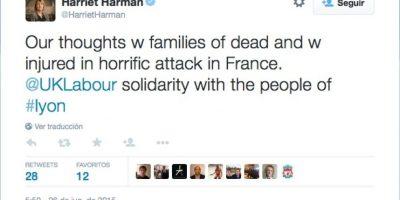Harriet Harman, integrante del Parlamento británico Foto:Twitter.com