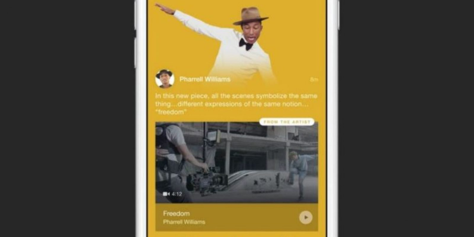 Connect permite a los fans conocer sobre el proceso creativo de los artistas mediante audios, videos o fotos compartidas por ellos mismos. Foto:Apple