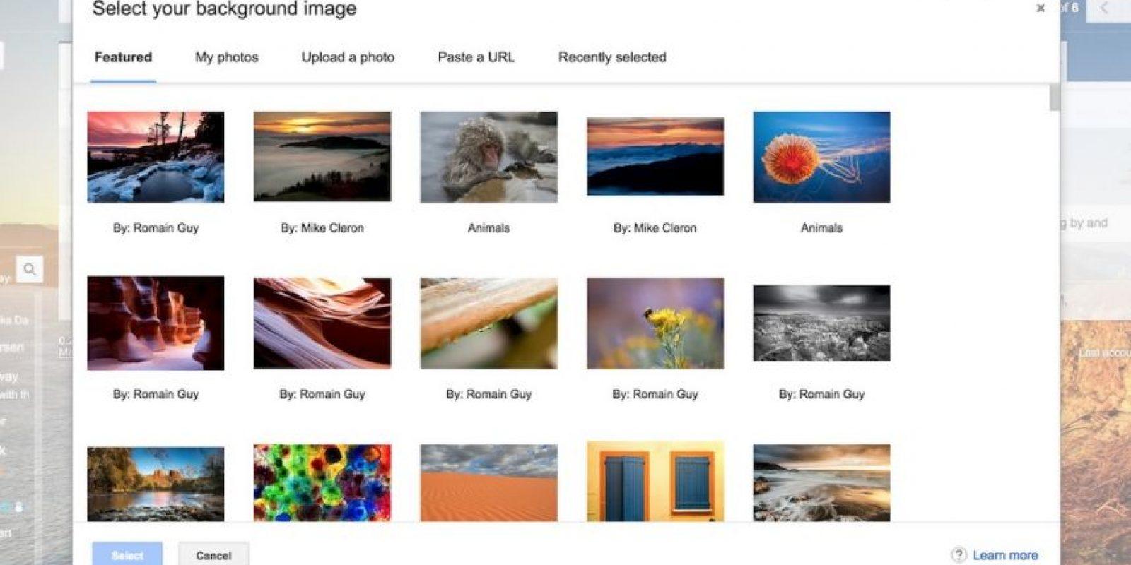 Parte de los nuevos temas de Gmail. Foto:Google