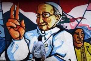 San Lorenzo, en Paraguay, tiene un grafitti enorme del pontífice Foto:AFP