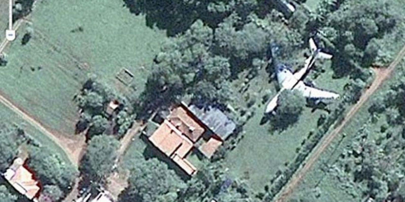 Un avión estacionado en un jardín junto a un árbol. Foto:Google