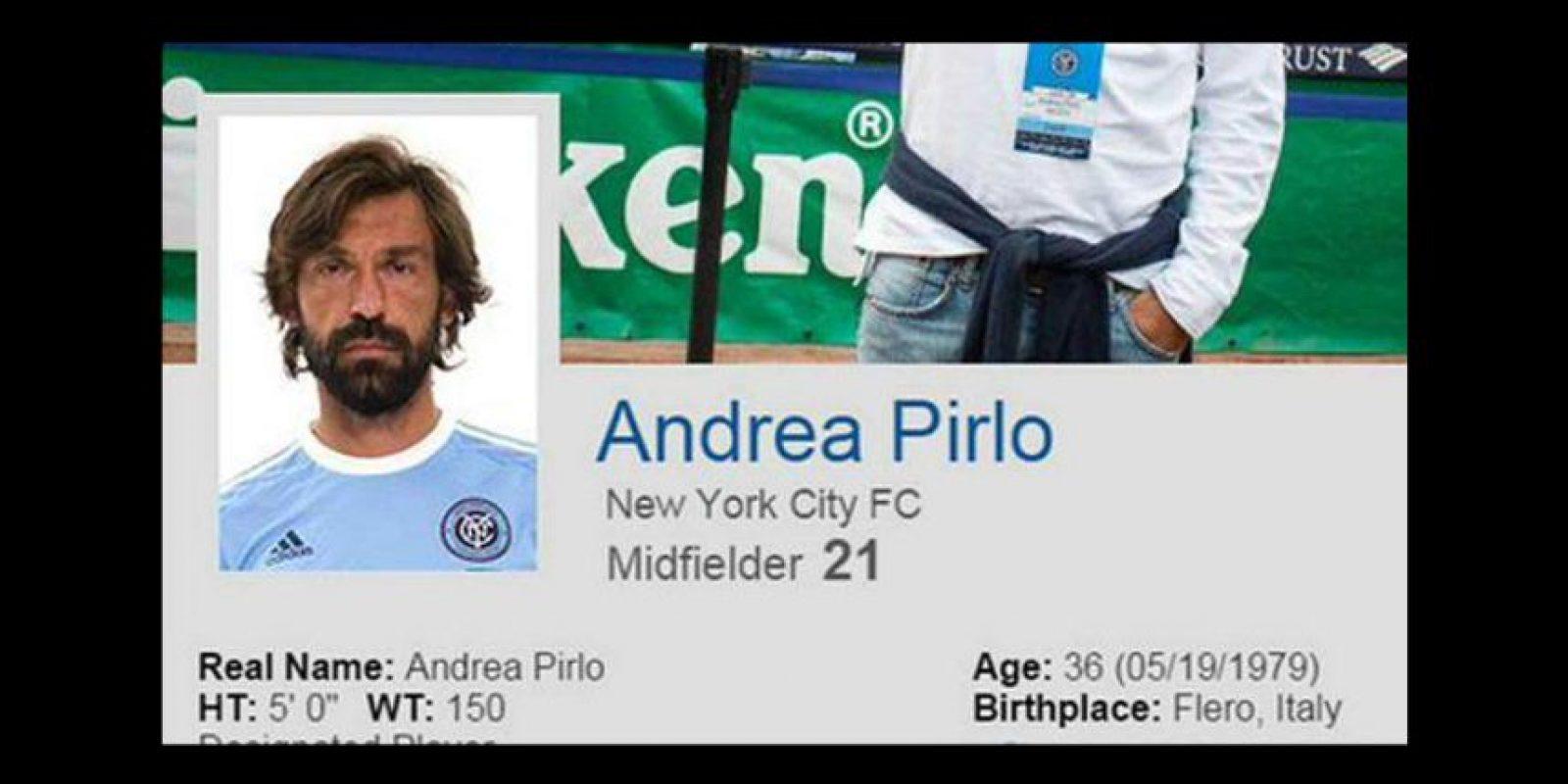 En redes sociales comenzó a circular esta imagen de Andrea Pirlo, como nuevo jugador del New York City FC. Foto:Vía twitter.com/footy_transferr