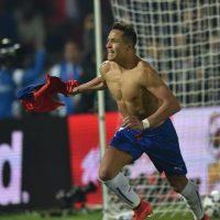 Alexis Sánchez luego de marcar el gol que le tio el título a Chile Foto:AFP