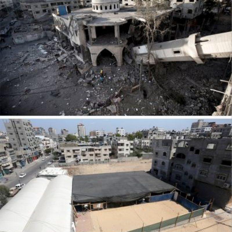 Una mezquita colapsada en la ciudad de Gaza Foto:AFP
