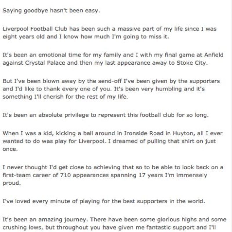 El excapitán del Liverpool jugará esta temporada en Los Ángeles Galaxy de la MLS. Foto:liverpoolfc.com