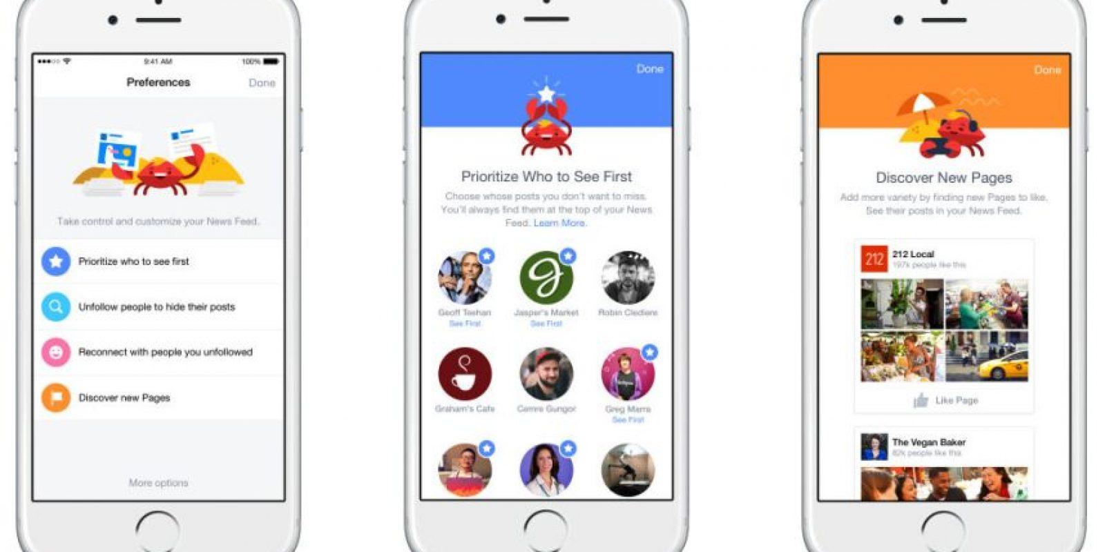 """Elijan las noticias que verán primero y optimicen su """"news feed"""" Foto:Facebook"""