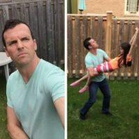 """Este hombre hizo un """"selfie stick"""" humano. Foto:Pinterest"""