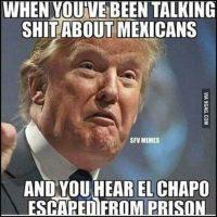 """""""Cuando hablas mal de los mexicanos y escuchas que el Chapo se escapó"""" Foto:Instagram.com"""