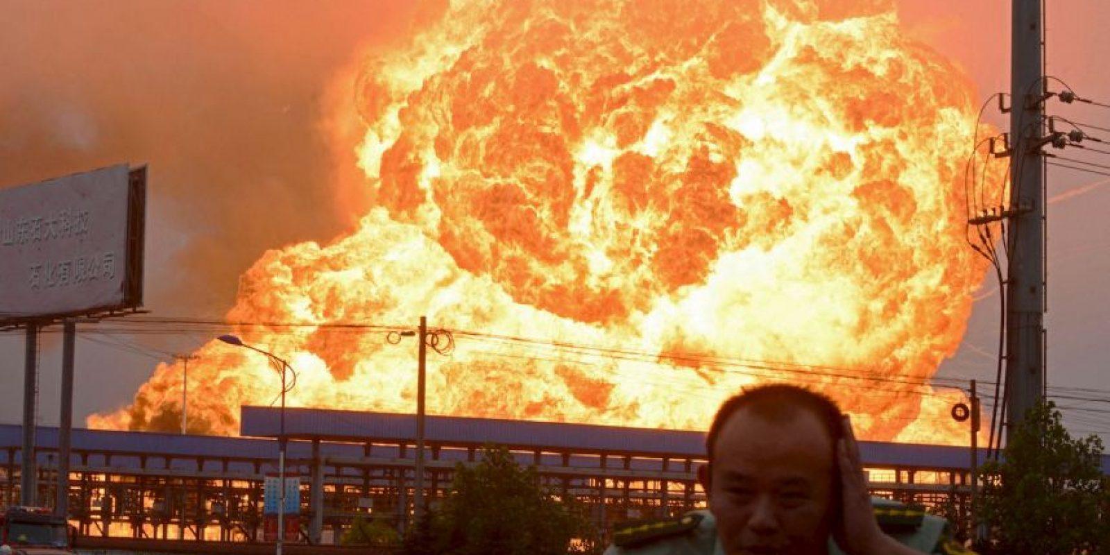 Explosión en la provincia oriental china de Shandong, China. Foto:AFP