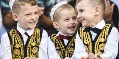 Niños musulmanes participan de actividad con motivo al fin del Ramadán. Foto:AFP