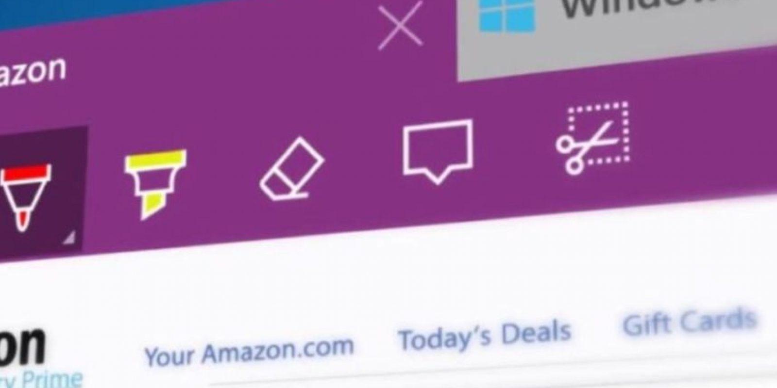 También se agregaron más opciones web como recortar, anotar, marcar y borrar en una página web. Foto:Microsoft Windows
