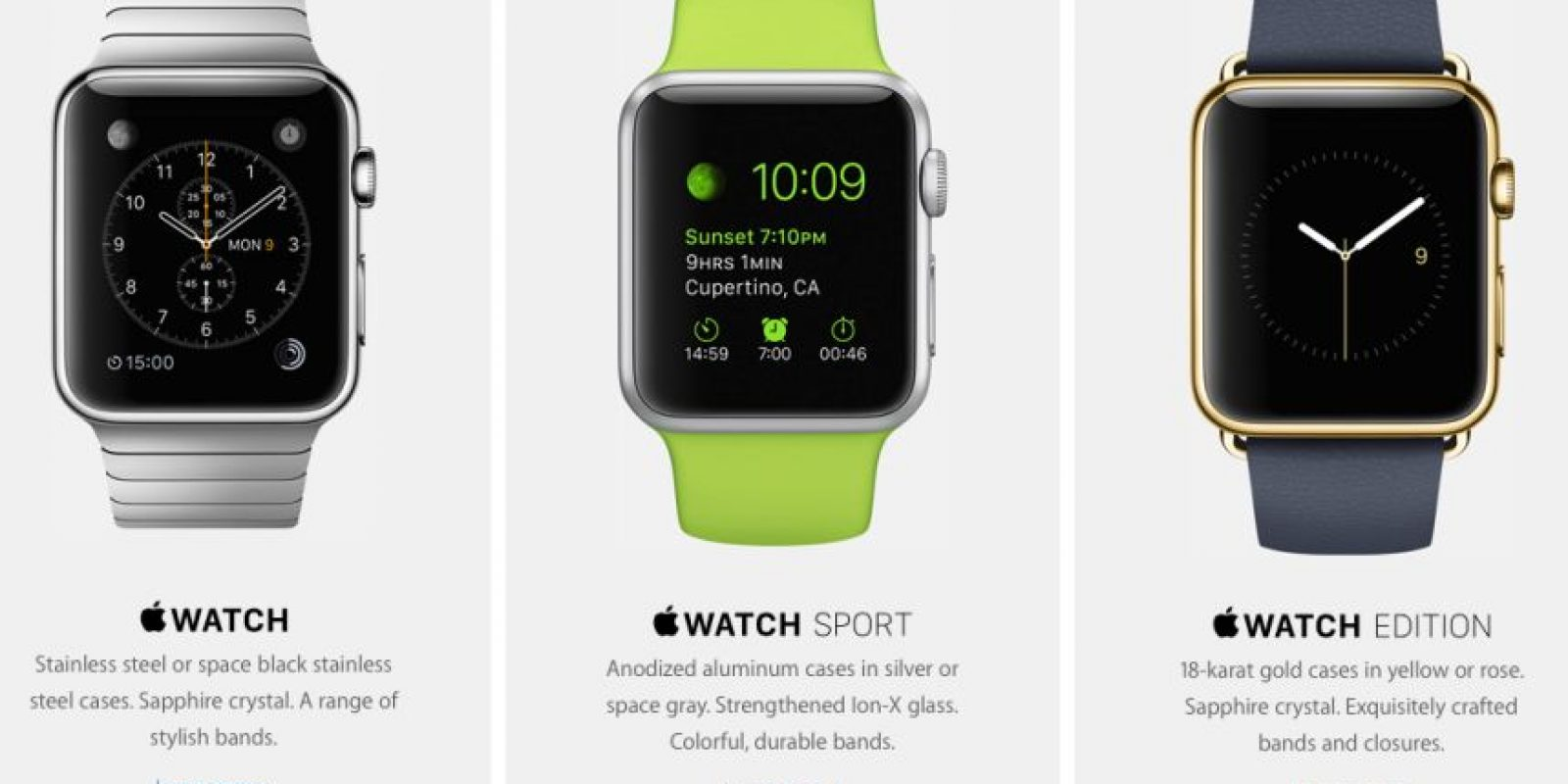 Se divide en tres colecciones diferentes: Apple Watch, Apple Watch Sport y Apple Watch Edition Foto: Apple