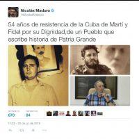 Felicitó a Raúl y a Fidel Castro. Foto:Twitter.com/NicolasMaduro
