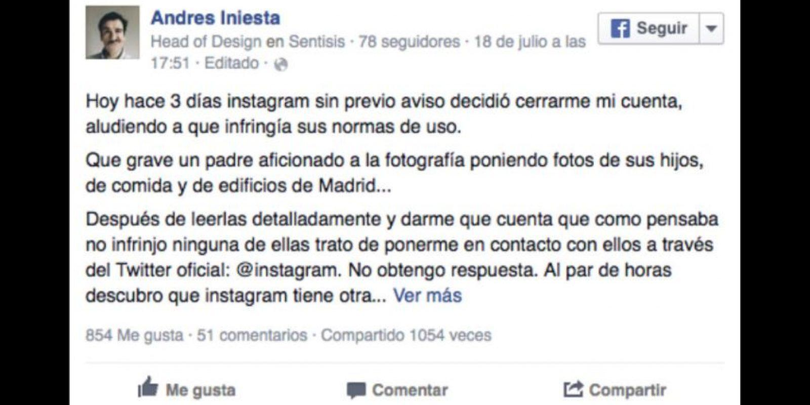 Al quitarle la cuenta, la red social se la otorgó al futbolista Foto:facebook.com/ainiesta