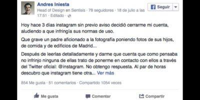 """Instagram cerró la cuenta de """"Andrés Iniesta"""" y no pidió disculpas"""