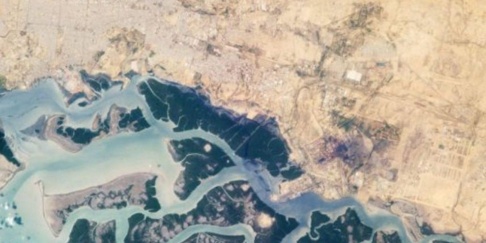 Desde la Estación Espacial Internacional, la zona industrial de Korangi, en Medio Oriente. Foto:Vía nasa.gov