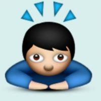 Pensando o rezando: Pero en realidad es para mostrar respeto a otra persona. Foto:Emojipedia