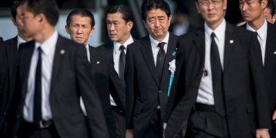 Uno de los oradores fue el Primer Ministro de Japón, Shinzo Abe Foto:Getty Images