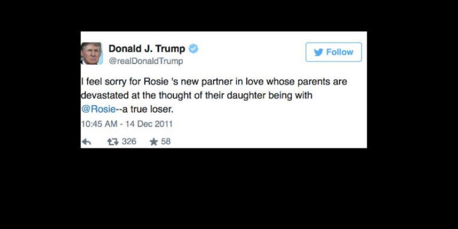 """En Twitter dijo que ella era una """"perdedora"""". Y todo porque ella lo criticó por perdonar a Miss USA 2006, Tara Conner. Fue una gran guerra mediática. Él amenazó con demandarla. Foto:vía Twitter"""
