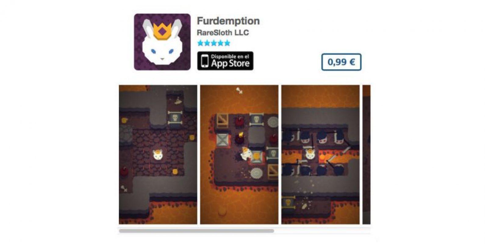 Furdemption es un juego de puzzle que cuenta la aventura de un conejo de la realeza que trata de escapar del infierno. Foto:De RareSloth LLC