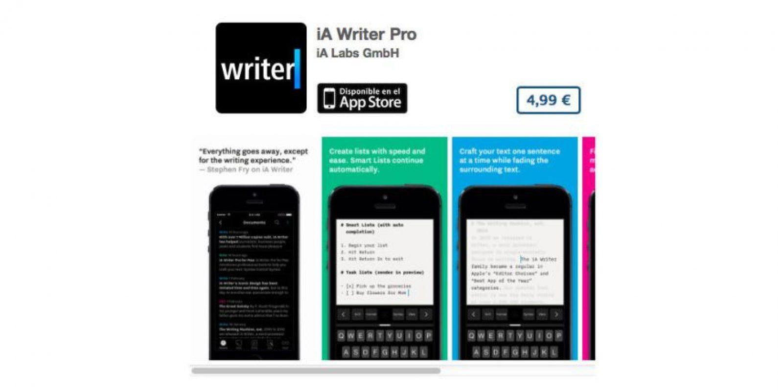 """iA Writer Pro es uno de los mejores editores de texto. El sitio """"The Verge"""" lo señala como maximizador minimalista de los editores de texto para iPhone. Precio seis dólares Foto:De iA Labs GmbH"""