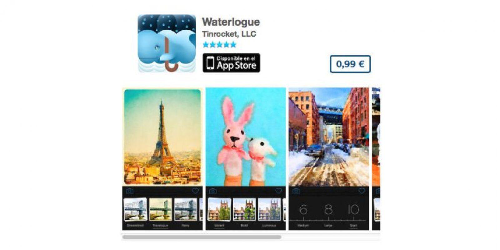 Waterlogue convertirá sus fotos en una pintura al óleo. Precio 1 dólar Foto:De Tinrocket, LLC