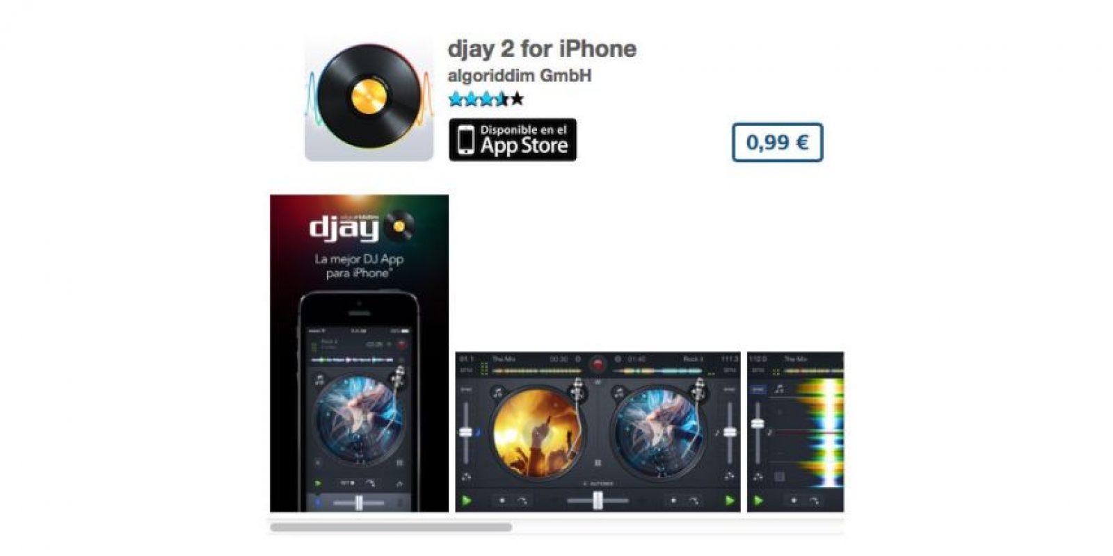 djay 2 for iPhone es el mezclador idoneo para cualquier DJ. Precio un dólar Foto:algoriddim GmbH