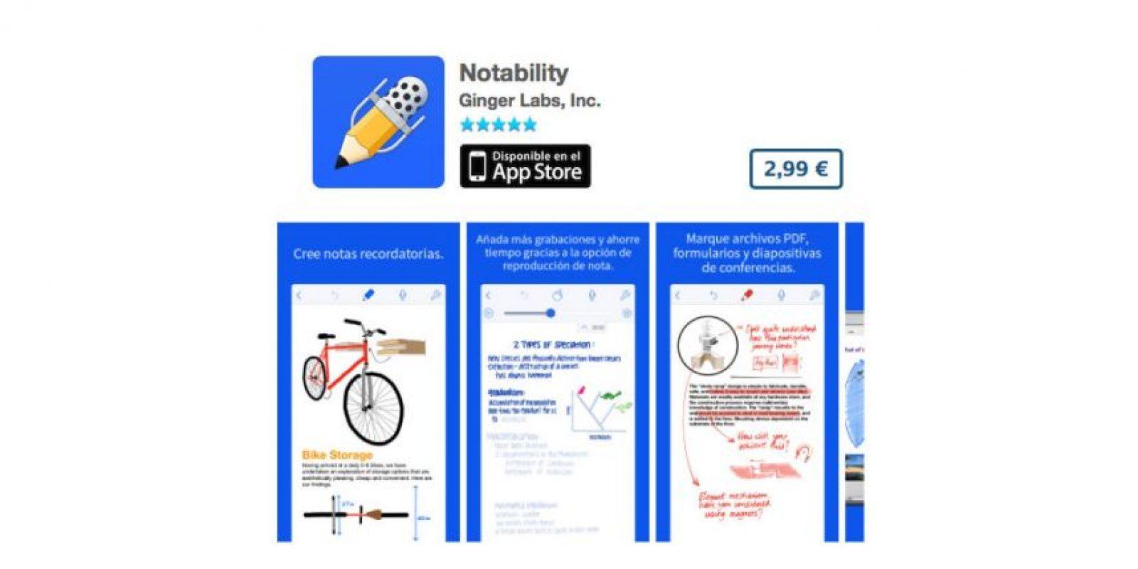 Notability es una potente herramienta para tomar notas que ofrece la posibilidad de realizar anotaciones. Precio cuatro dólares Foto:De Ginger Labs