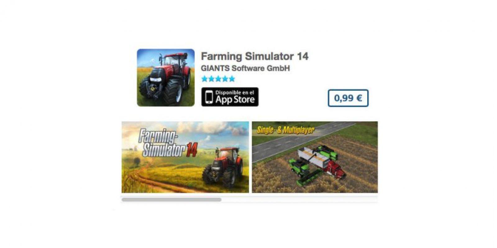 Farming Simulator 14. De GIANTS Software GmbH, es un simulador para resolver distintos retos usando un tractor de campo. Precio un dólar Foto:iTunes