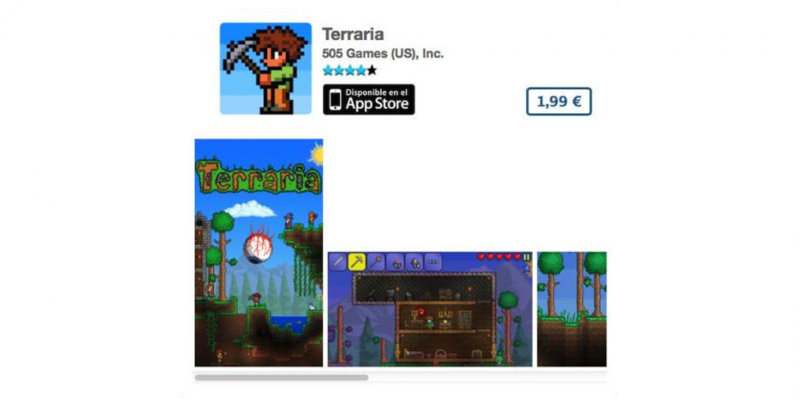 """Terraria es el típico juego de """"Atari"""" para celular. Precio tres dólares Foto:De 505 Games (US), Inc."""