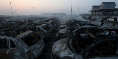 Así es como despertó la ciudad el 13 de agosto, tras la serie de explosiones en el puerto chino Foto:Getty Images