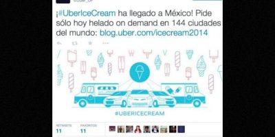 144 ciudades pudieron pedir un helado y disfrutarlo en su casa u oficina. Foto:Uber
