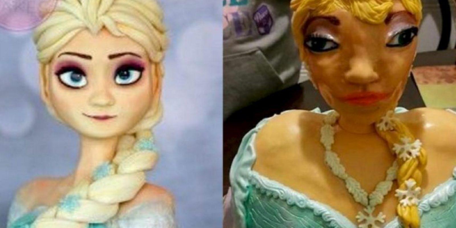 """Para celebrar a la pequeña Briana, su familia encargó un pastel (torta) inspirado en """"Elsa"""", la protagonista de la película animada """"Frozen"""". Foto:vía imgur"""