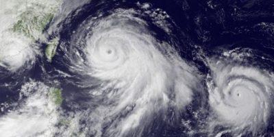 Dos huracanes en el Océano Pacífico están apunto de formar dos súper tifones. Foto:Vía nasa.gov