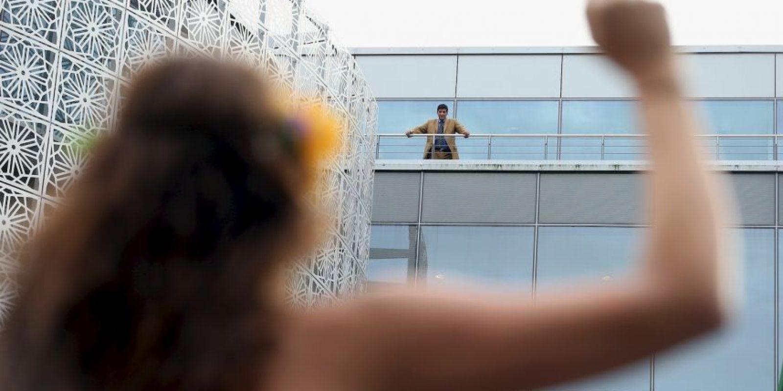 En Berlín protestaron de esta forma contra la prohibición a manejar que impusieron las autoridades a las mujeres en Arabia Saudita Foto:Getty Images