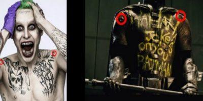 """La imagen de la derecha es parte del tráiler de """"Batman v Superman"""", mientras que la izquierda aparece la imagen del """"Joker"""" con las mismas heridas en los hombros. Foto:Reddit/DeathByRequest"""