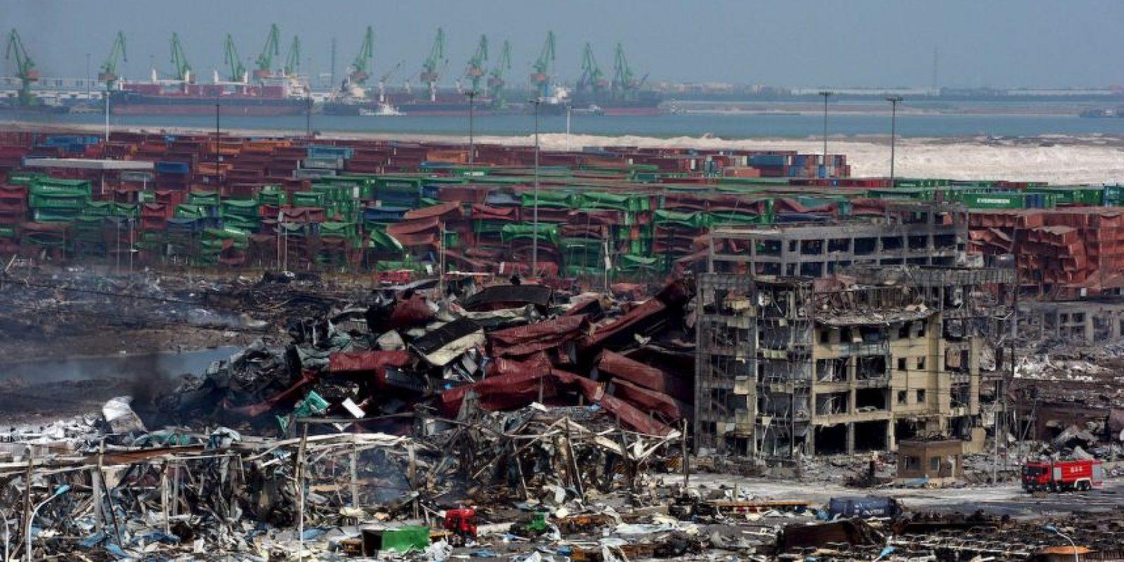 Lugar de la explosión en Tianjin, China. Foto:AFP