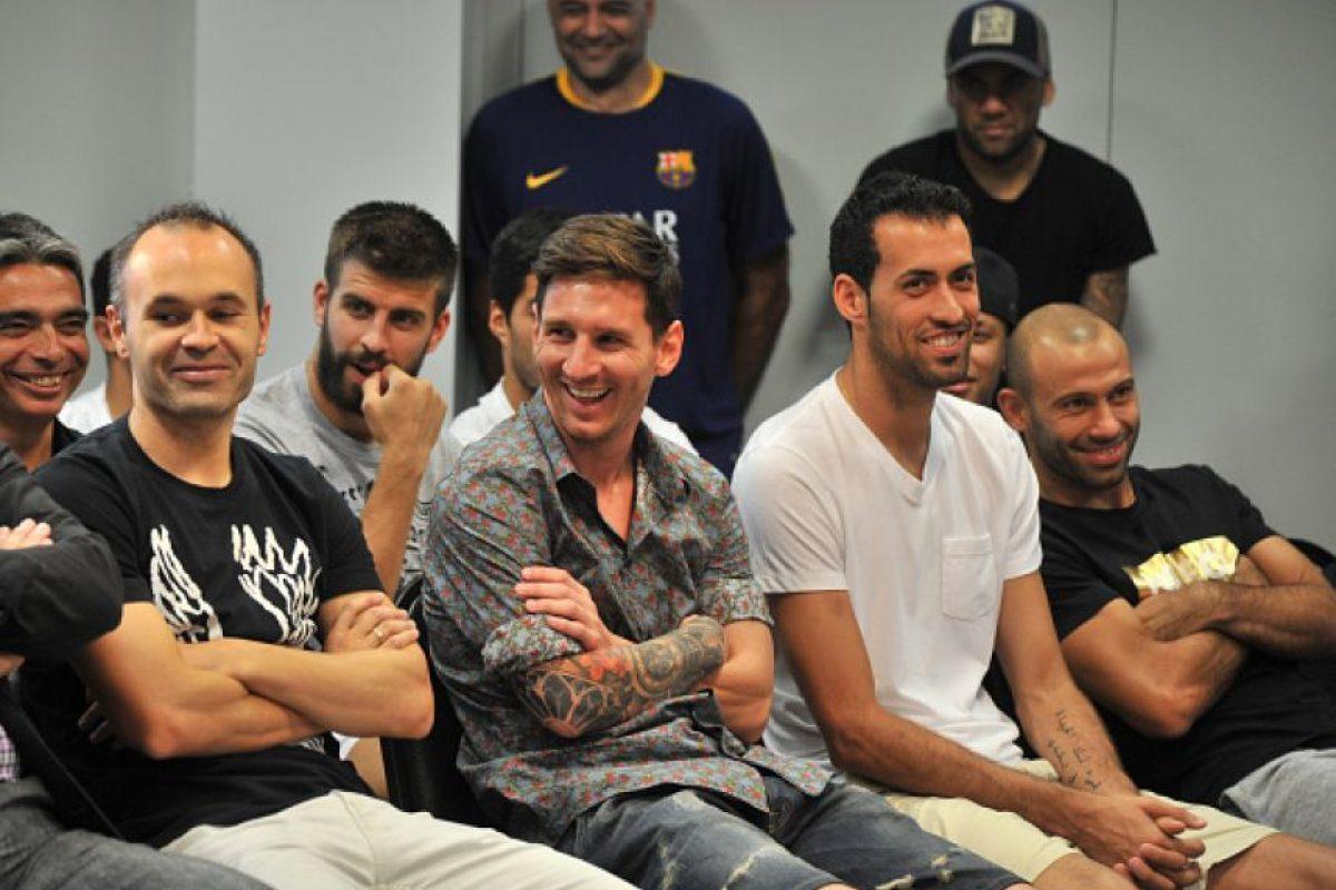 Andrés Iniesta, Lionel Messi, Sergio Busquets y Javier Mascherano. Foto:Getty Images