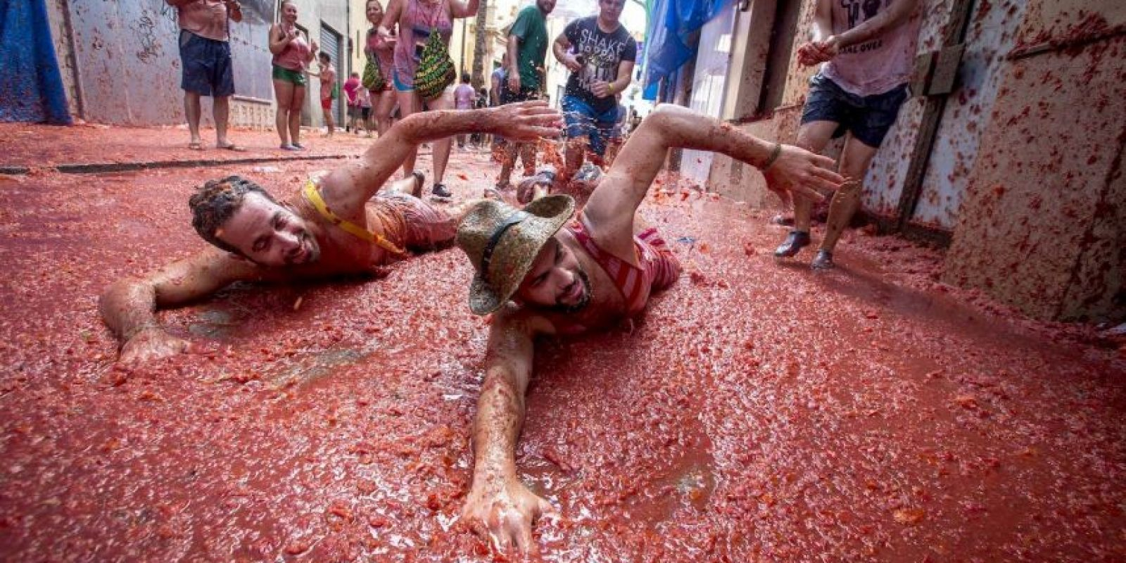 Festival de la Tomatina, celebrado en Buñol, España. Foto:AFP