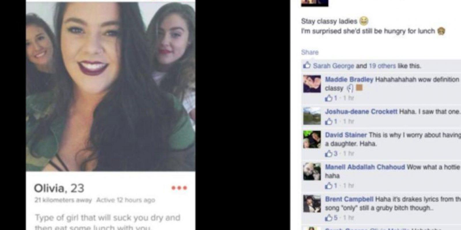 Ella se llama Olivia y algún chistoso subió su perfil de Tinder a Facebook. Sí, la gente es mala. Foto:vía Facebook