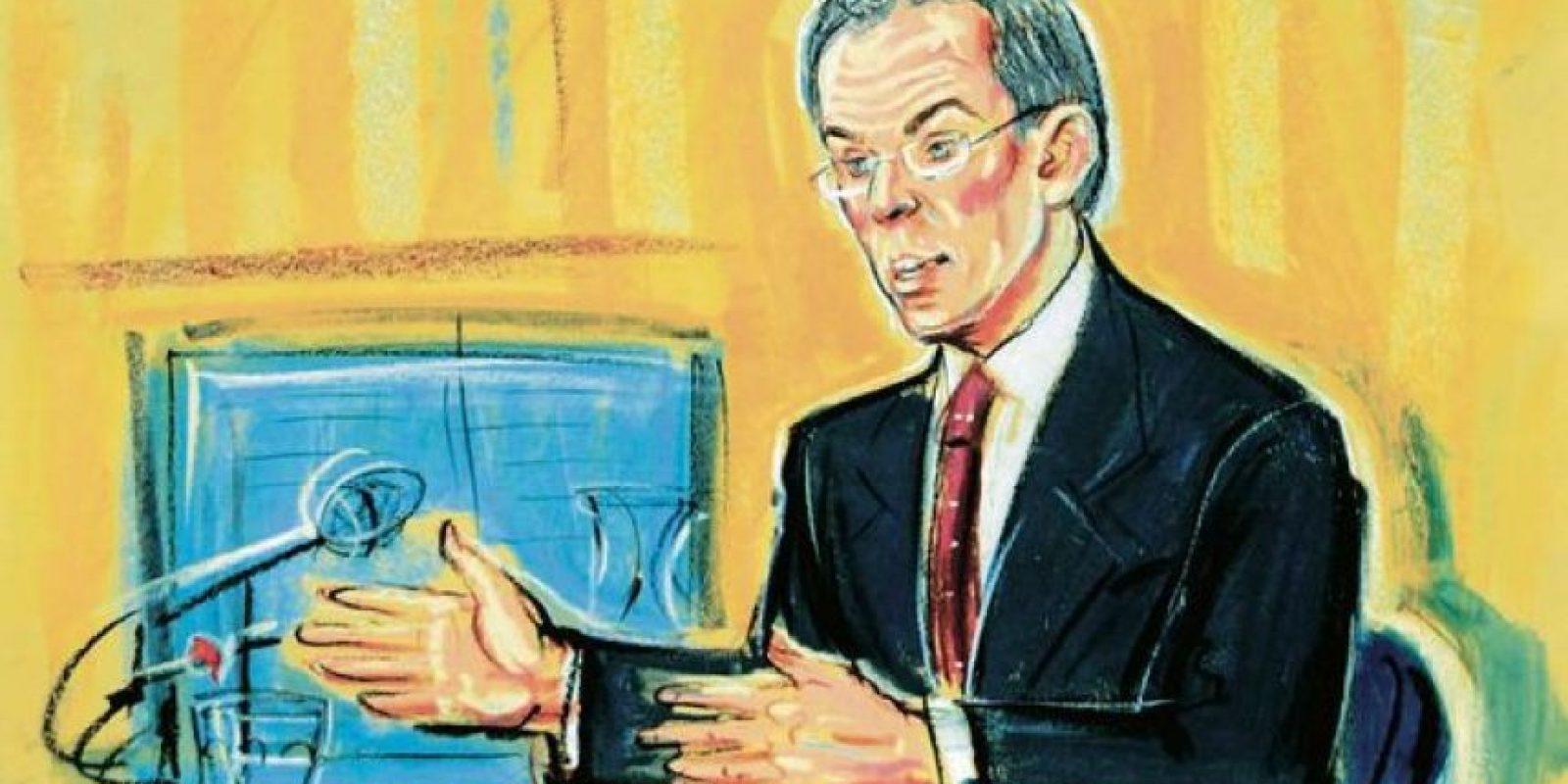El exprimer ministro británico compareció en la investigación del caso Hutton Foto:Dibujado por Priscila Coleman