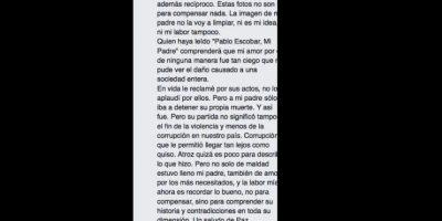 De hecho, acá explica que no justifica los crímenes de su padre. Foto:vía Facebook/Sebastián Marroquín