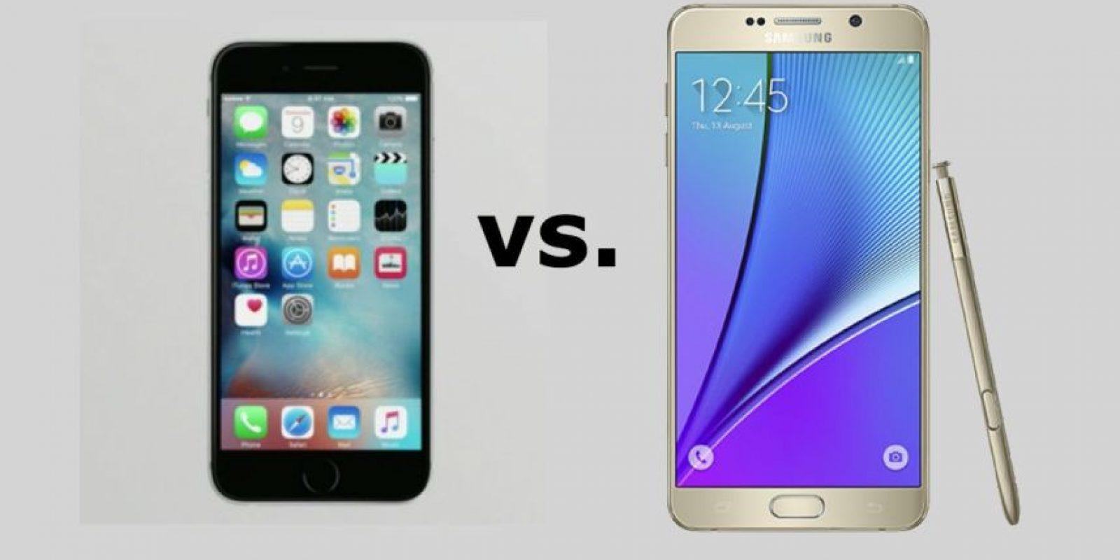 iPhone 6s y Samsung Galaxy Note 5 frente a frente. Foto:Apple / Samsung