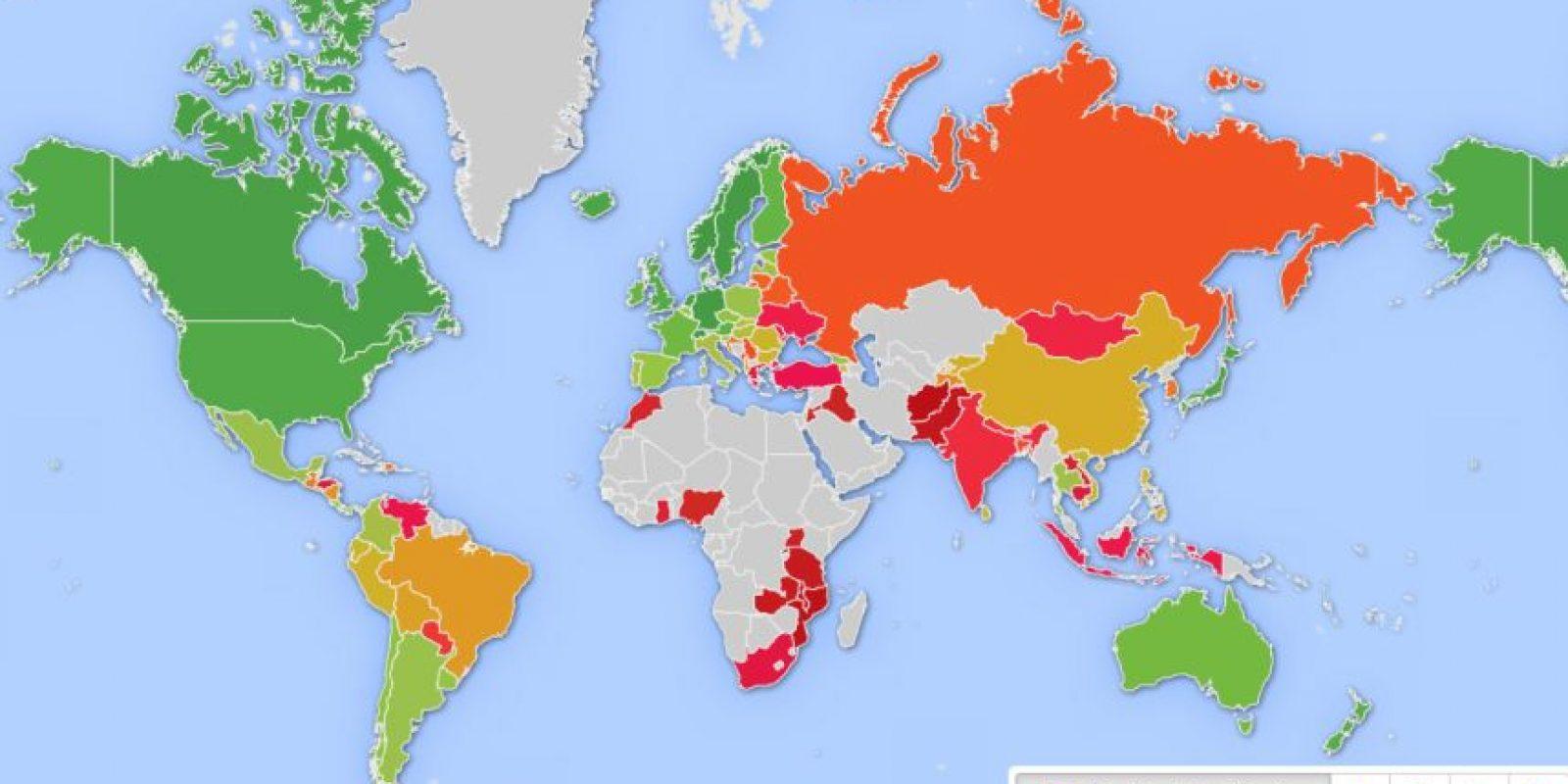 Así tiene clasificado a los países HelpAge Internacional. Foto:Vía helpage.org